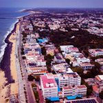 Aerial View of Rock Beach Pondicherry