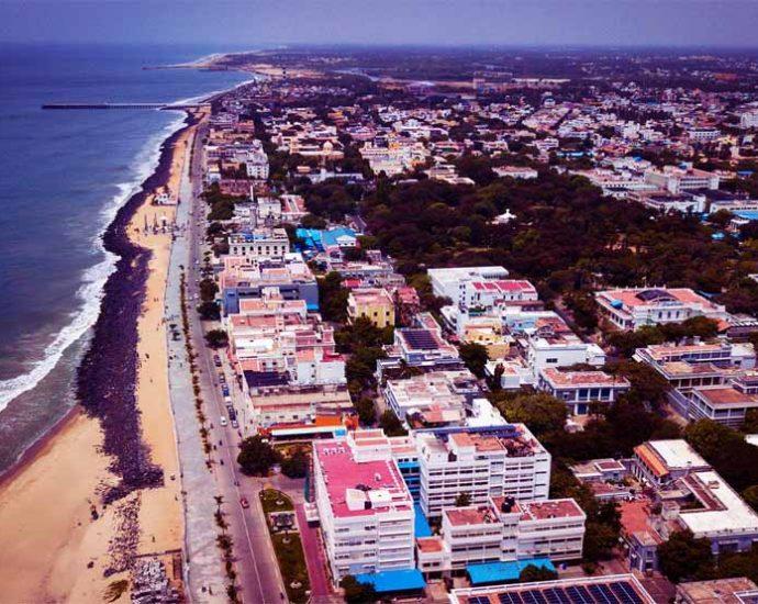 Aerial View of Rock Beach Pondicherry